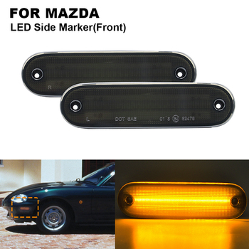2PCS  12V 5W Smoked LED Front Side Marker Light Lamp For Miata MX-5 1990-2005, Front Side marker Lamp(Amber)  Car Accessories