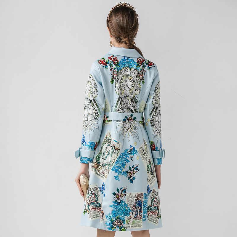 SEQINYY синий топ 2020 осень зима новый модный дизайн женский длинный Тренч с цветочным принтом и поясом