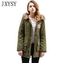 купить JXYSY Womens Parka Jacket 2019 Casual Hooded Warm Winter Jacket Women Long Cotton Padded Outwear Female Winter Coat Plus Size дешево