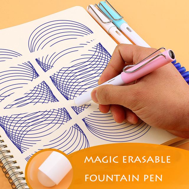 1-Piece Magic Erasable Fountain Pen Fine Nib 0.5mm Posture Correction Writing Ink Pens for Kids Students School Office Supplies