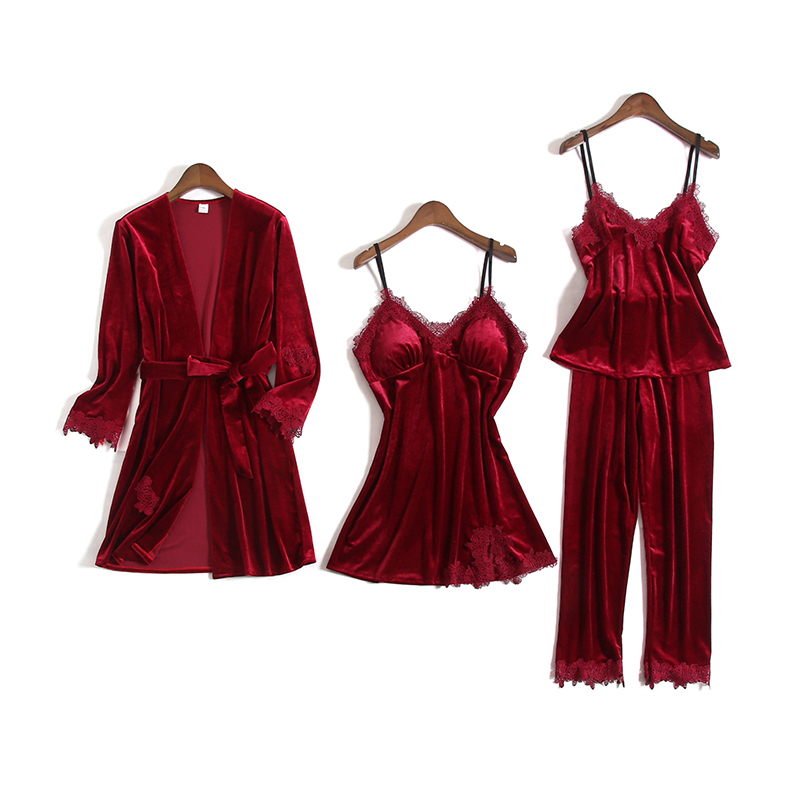 Women Gold Velvet Pajamas 4 Pieces Sexy Lace Pajamas Sets Women Robe Sleepwear Sleeveless Pijamas Nightwear Homewear Pyjama Sets