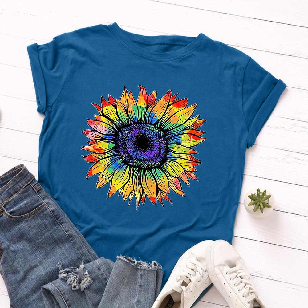 Jackairy Women100 % Katoenen T-shirt Oversize Zonnebloem Print T-shirt Zomer Toevallige Korte Mouwen Grafische Tee Vrouwelijke Streetwear Tops