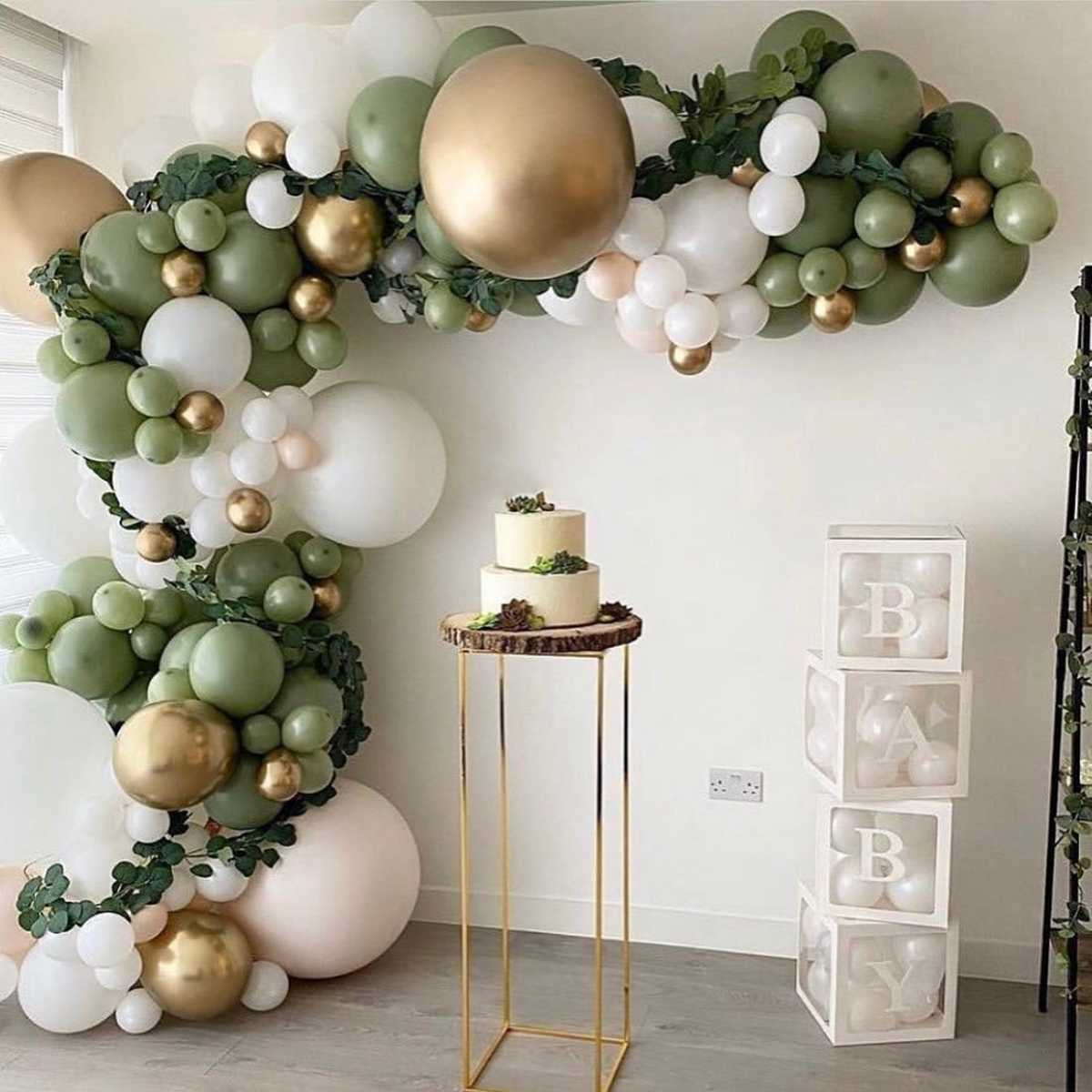 152pcs Green Silver Macaron Metal Balloon Garland Arch Wedding Birthday Balloons Decoration Party Balloons For Kids Baby Shower
