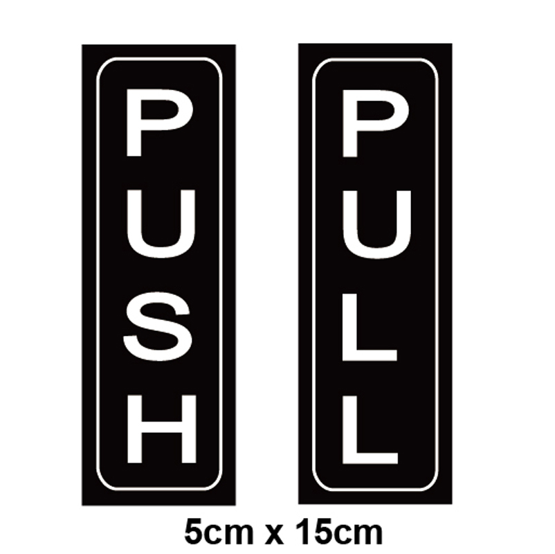 Push Pull Door Vertical Stickers Sign 2 Pack 5x15cm, Back Self-Adhesive Black & White Vinyl Sticker For Business Stores