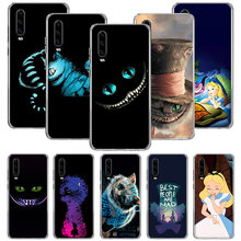 Alice In Wonderland Cat Case untuk Huawei P20 P30 P Smart Z Plus 2019 P10 Mate 30 10 20 Lite pro Silikon Shell Phone Coque Cover(China)