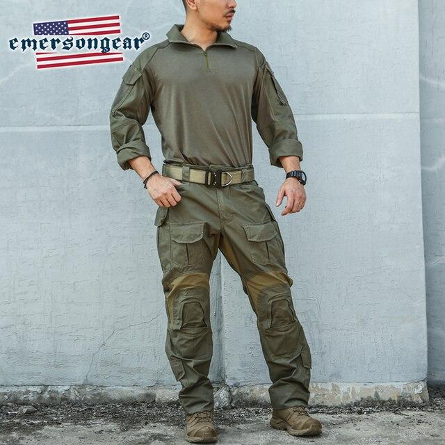 Emersongear Blue Label RangerสีเขียวG3 Combatยุทธวิธีเสื้อและกางเกงอัพเกรดรุ่นบุรุษBDU Slim FitทหารDuty Uniform