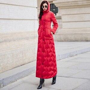 Image 5 - Красный пуховик для женщин 2019 зима новый тонкий Талия длинный теплый белый утиный пух Мода темперамент 6043
