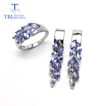 Natural gemstone tanzanite jewelry set 925 sterling silver earring&rings fine jewelry for women Black Friday and Christmas gift gem s ballet natural mystic quartz iolite blue rings clip earrings real 925 sterling silver fine jewelry set for women gift