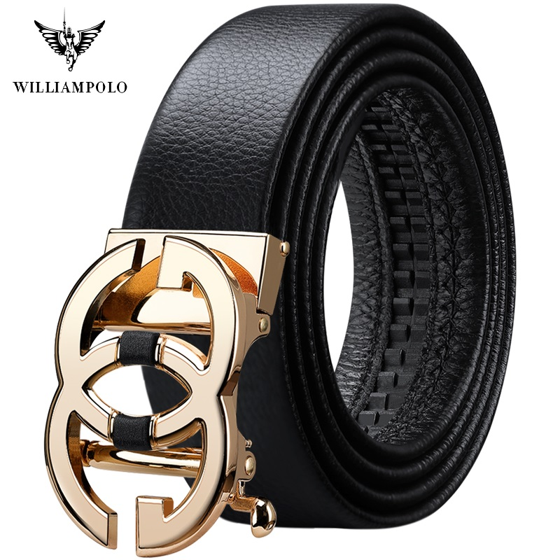WilliamPolo Full-grain Leather Brand Belt Men Top Quality Genuine Luxury Leather Belts For Men Strap Male Metal Automatic Buckle