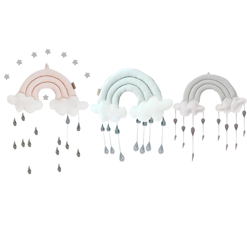 Newborn Cloud Rainbow Raindrop Wall Toys Baby Bed Tent Pendant Crib Hanging Toy Room Ornament Infant Photo Props