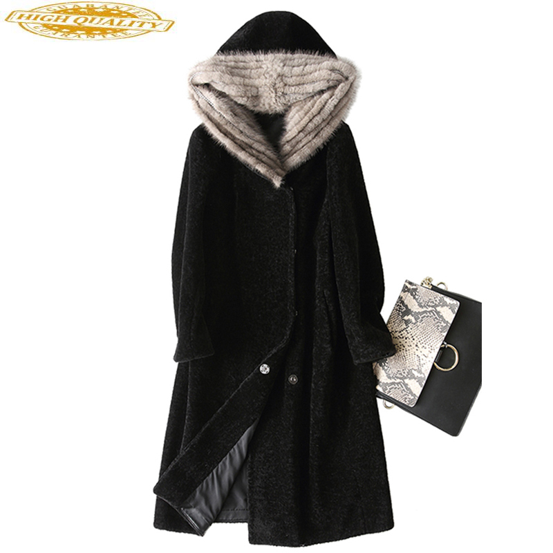 Real Fur Coat Winter Jacket Women Sheep Shearling Wool Coat Female Mink Fur Hooded Long Women's Jackets 2019 KJ708