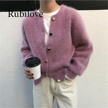 Rubilove 2019 Autumn Winter Sweaters Women Knitted Slim Cardigans Solid 2 Colors Single Breasted O-Neck Tops Vintage Fuzzy Sweat