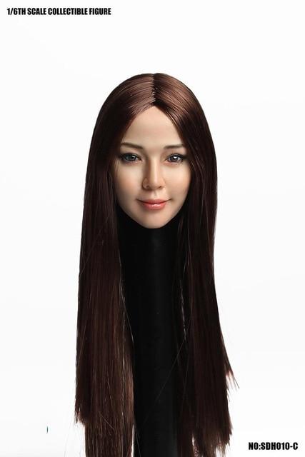 SUPER ANATRA SDH010 Testa Sculpt 1/6 Bilancia Asiatico Testa Femminile Intagliare Con I Capelli per 12in Tbleague Phicen JIAOUL Bambola Giocattolo