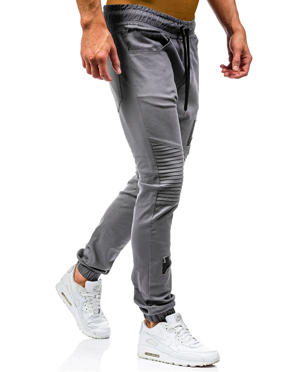 Men Sweatpants Casual Pants Slim fit Drawstring Sweatpants Slacks Elastic Waist Patchwork Pleated Ultrathin Male Trousers Jogger 23