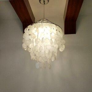 Image 5 - DIY מודרני לבן טבעי צדף תליון מנורת מתקן E27 אורות Dia 26/30/45cm פגז מנורות עבור חיים בבית חדר שינה חדר