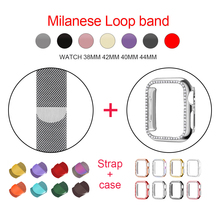 цена на Milanese Loop Bracelet Strap+Caes for Iwatch 4 5 40mm 44mm Stainless Steel Band for Apple Watch Series 1 2 3 Bands 42mm 38mm