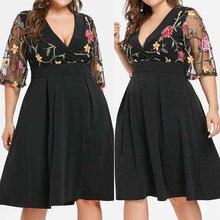 Women Dress Casual Floral Short Sleeve Lace Hollow Out Plus Size 5xl Solid Applique V-neck Dress Women Summer Dresses Vestidos