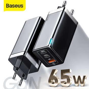 Baseus GaN PD 3,0 USB cargador para iPhone 11 Pro soporte Max AFC FCP SCP QC 3,0 para Samsung S10 Plus 65W cargador USB rápida