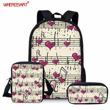 WHEREISART Love Music Note Pattern School Bags for Student L