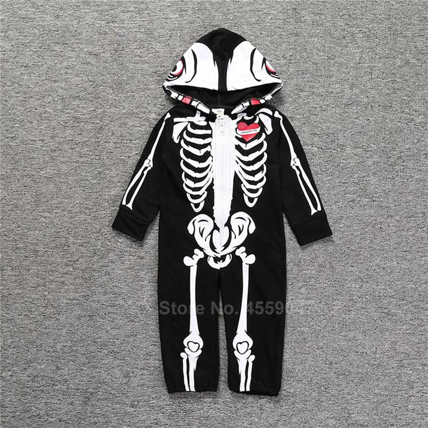 Halloween Skeleton Cosplay Costumes for Newborn Baby Hooded Romper Jumpsuit Novelty Scary Skull 3D Print Boys Gothic Bodysuit 4