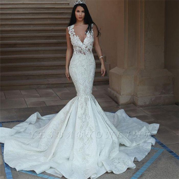 Mermaid Long Wedding Dresses Bridal Gowns Lace Sleeveless V Neck Mariage Bride Dresses Vestidos De Novia 2020