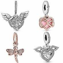 Оригинальный розовое золото сверкающие стрекозы в форме сердца и кулон крылья ангела, соответственные Европейской браслет в европейском с...
