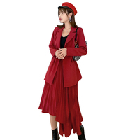 Autumn High Quality Women's Suits Two Piece Sets Elegant Suit Collar Red Blazer Coat + Fashion Irregular Pleated Long Skirt Set
