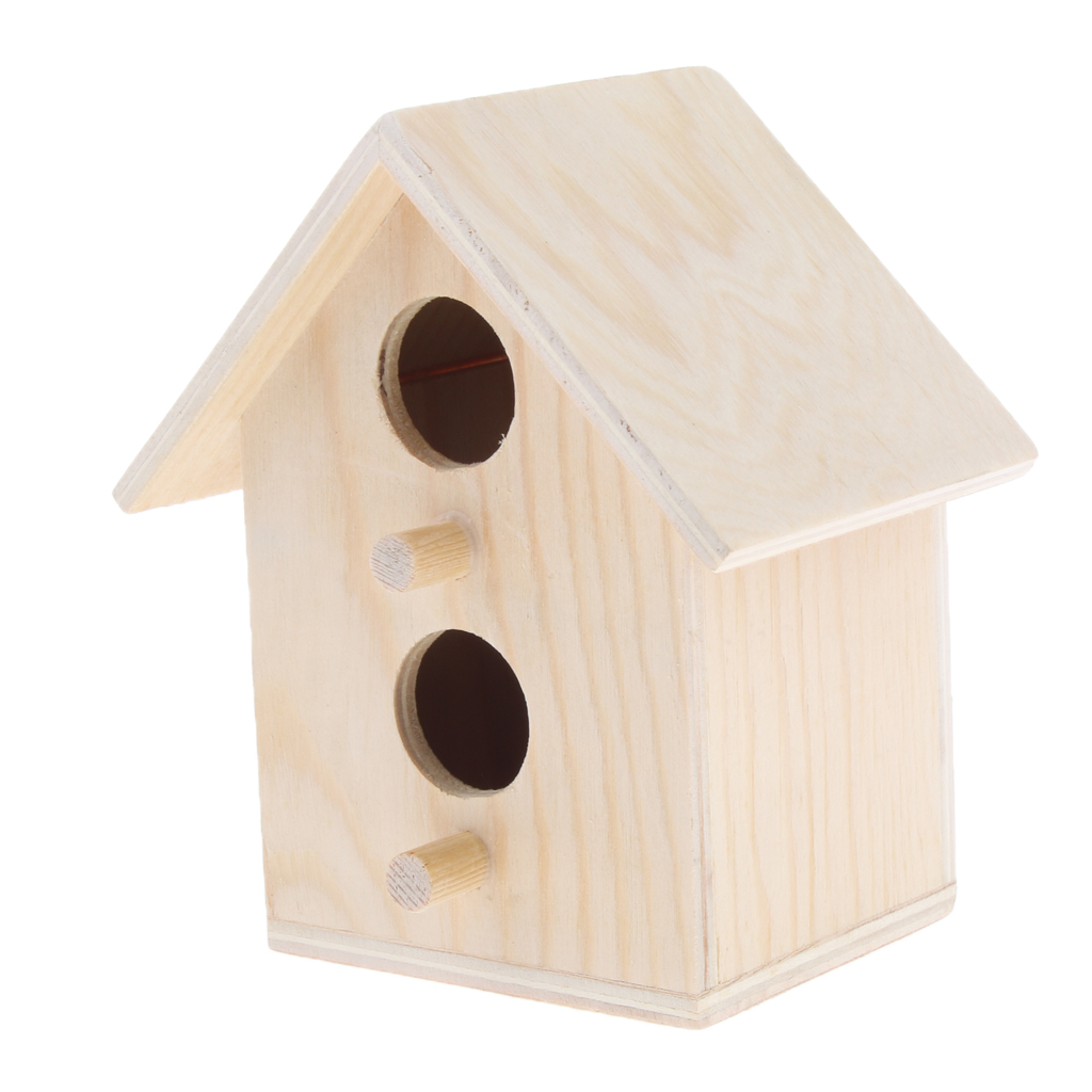 Bird Supplies Parrot Cage Accessories Wood Box 2 Hole House Cabin Birdhouse