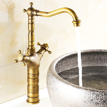 Brass Basin Faucet Double Handle Bathroom Dual Hole Mixers Hot And Cold Water Bronze Deck Mounted azos split faucetsoft basin brass orb cold and hot switch rotatable bathroom below counter basin balcony double handle three hol