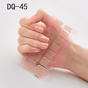 14pcs/sheet Glitter Gradient Color Nail Stickers Nail Wraps Full Cover Nail Polish Sticker DIY Self-Adhesive Nail Art Decoration 84