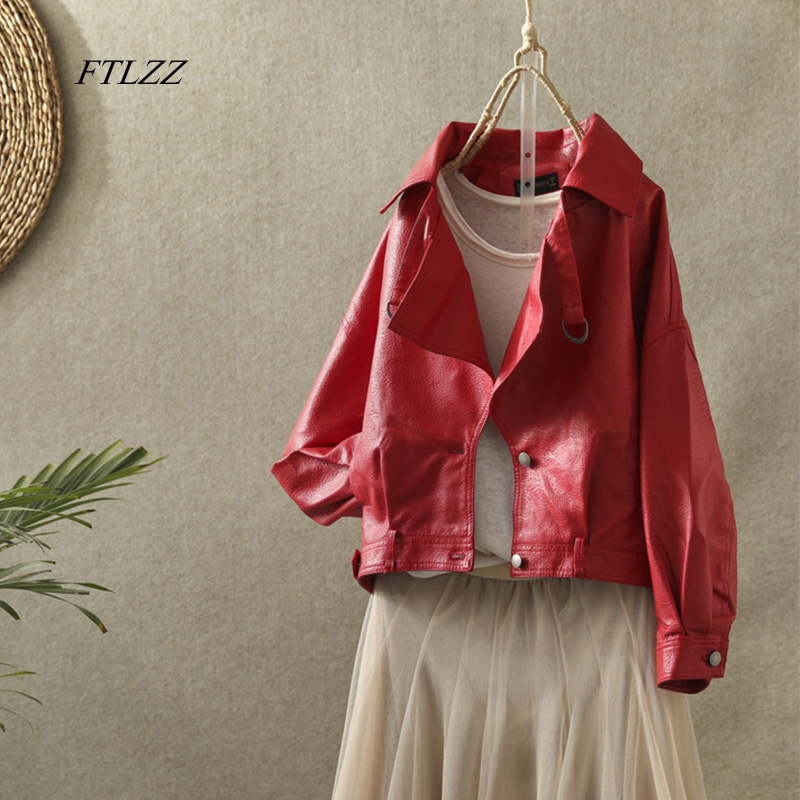 FTLZZ New Women Faux Leather Jacket Autumn Street Leather Coat Soft Loose Vintage Biker Coat Short Pockets Motor Pu Black Jacket