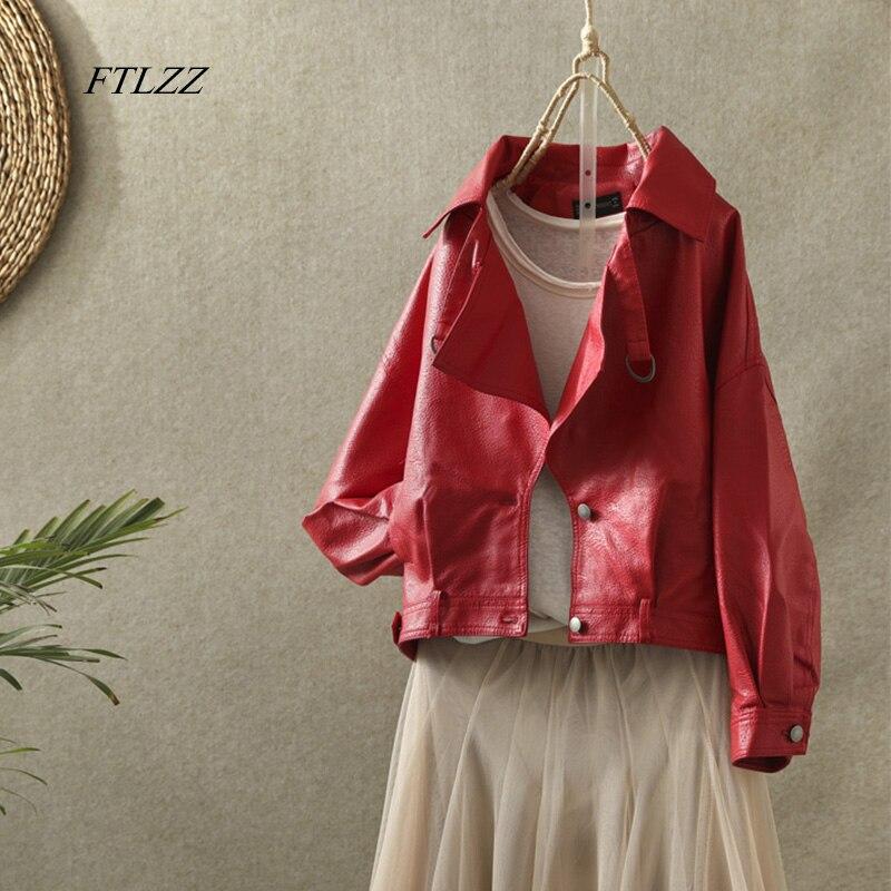 FTLZZ New Women Faux Leather Jacket Autumn Street Leather Coat Soft Loose Vintage Biker Coat Short Pockets Motor Pu Black Jacket