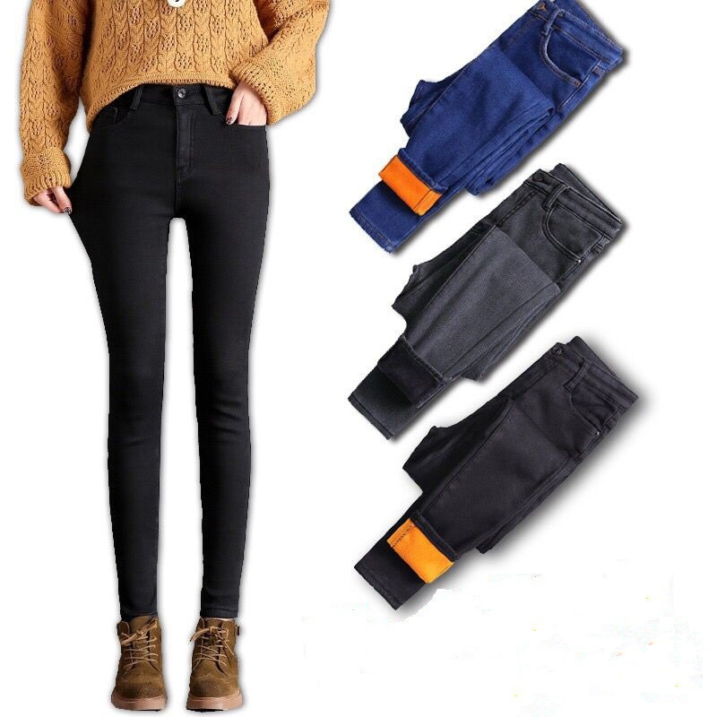 Women Fleeces Jeans 2019 Winter Candy Color Warm Jeans Pants Fashion Thicken Denim Pencil Pants Skinny Elastic Streetpant P9163