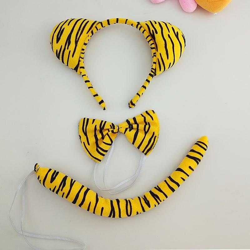 Детская повязка на голову с ушками животных для мальчиков и девочек; комплект с галстуком-бабочкой и хвостом для детей и взрослых; карнавальный костюм; вечерние аксессуары для волос - Цвет: 49