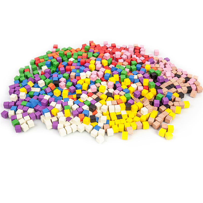 100Pcs/lots 10mm Wood Cubes Colorful Dice Chess Pieces Right Angle For Token Puzzle Board Games Early Education Free Shipping