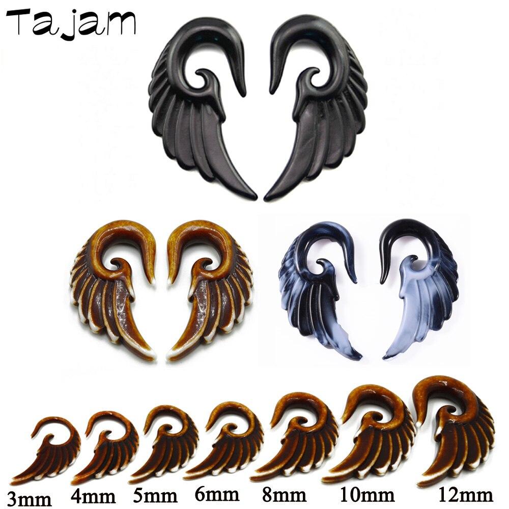 1 пара смешанных цветов акриловая спиральная коническая заглушка Калибр Набор для растяжки ушей, винтажные ангельские аксессуары для растя...