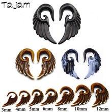 1 pares de cores misturadas acrílico espiral atarraxamento plug gauge orelha alongamento kit, asas de anjo do vintage brinco maca piercing jóias
