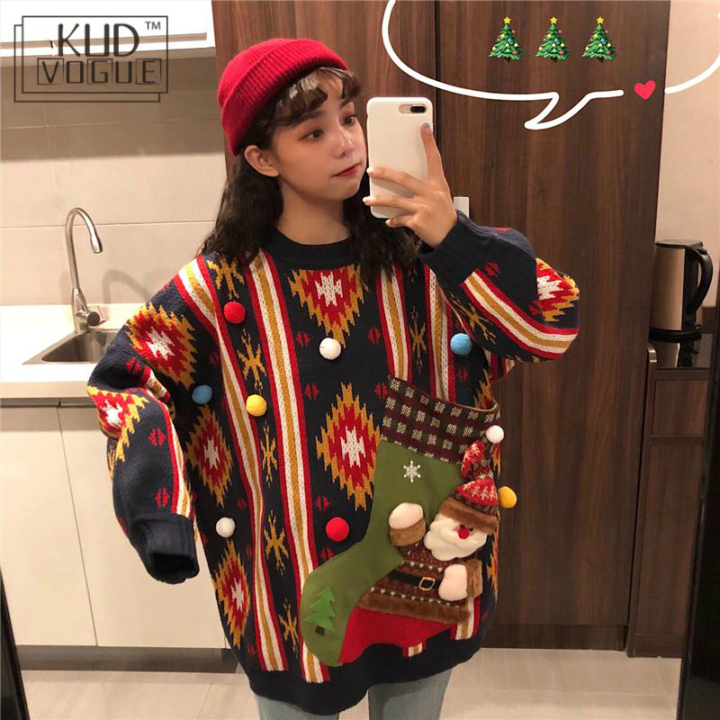 Korean Winter Ugly Christmas Sweaters Pullover Women Jumper Oversized Knitted Lovers Red Sweater Long Sleeve O-neck Snowman Tops