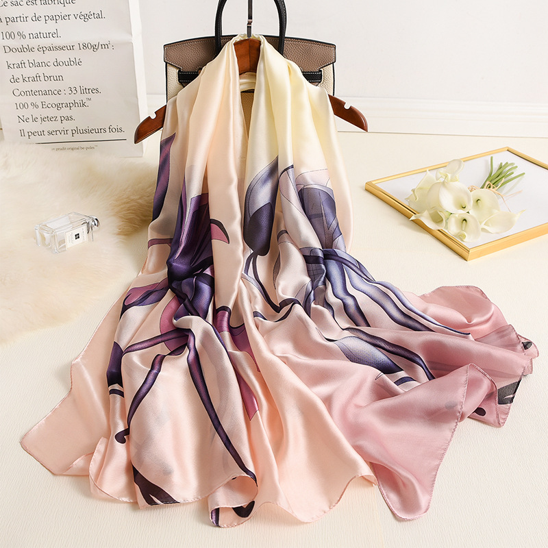 Two Color Stitching Silk Scarf Women Summer Air Conditioning Blanket Scarf Lady Travel Pashmina High Quality Shawls Wraps Hijab