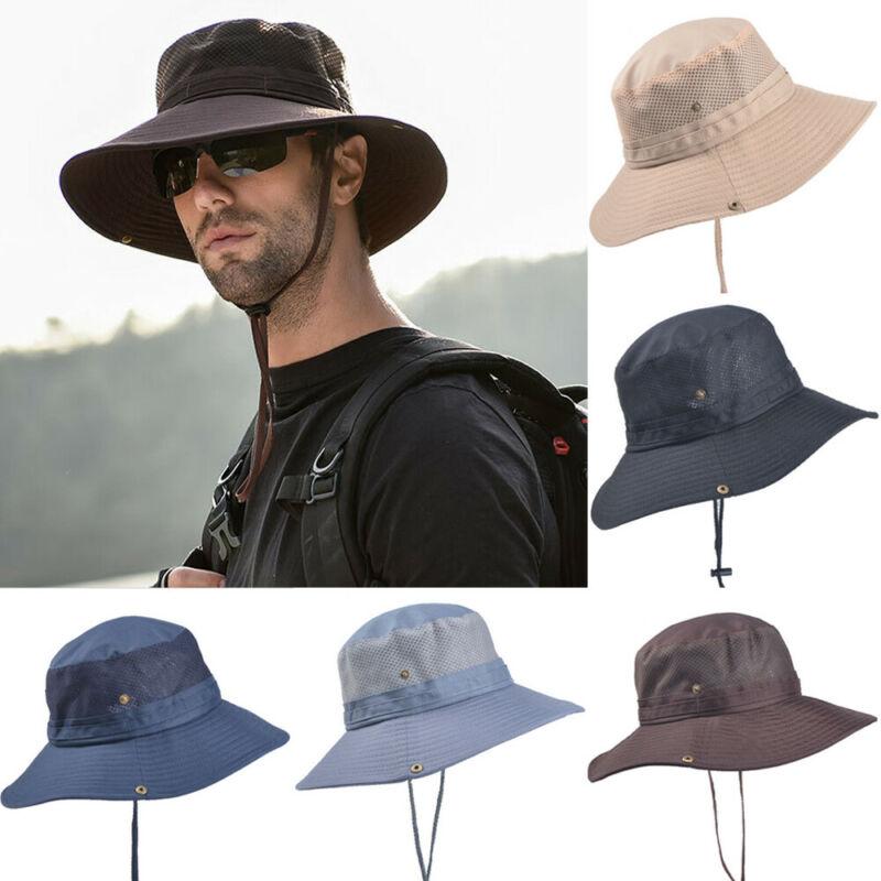 Sombreros cubo Boonie verano para hombre sombreros pescador ala ancha sombrero cubo pesca para sol malla transpirable poli/éster