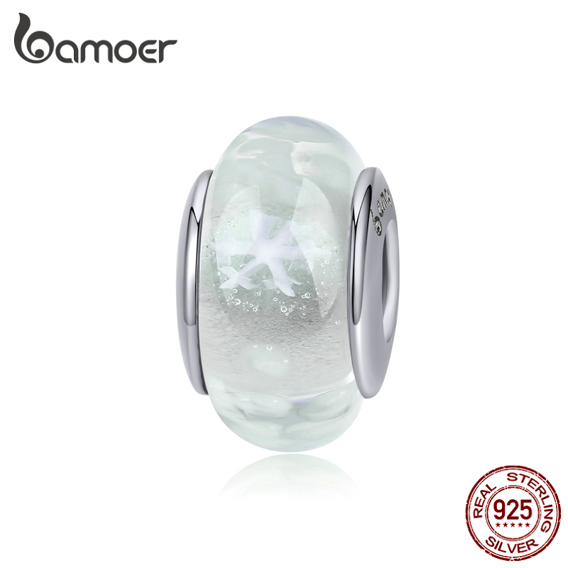 Bamoer Authentic 925 Sterling Silver Snowflake White Handmade Murao Glass Beads For Women Jewelry Making Bracelet Bangle BSC194