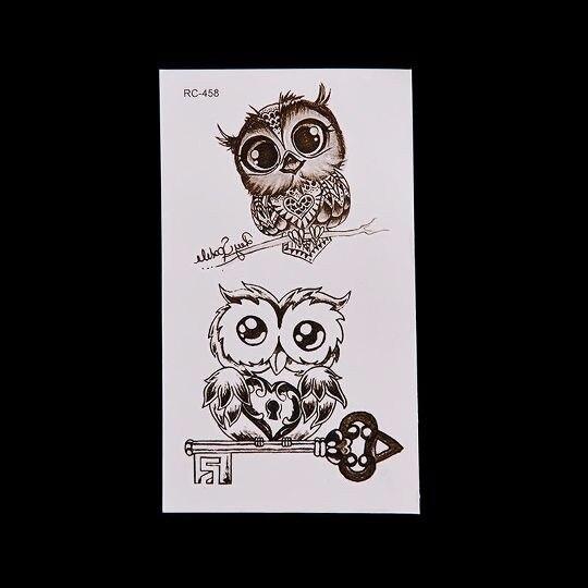 Временные наклейки на татуировку Совы нетоксичные быстро длительные 1 лист милые водонепроницаемые съемные Безопасные наклейки для макияж...