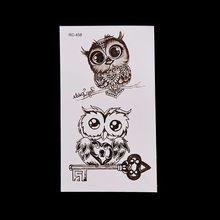 Etiqueta de tatuagem temporária da coruja não-tóxico rápido duradouro 1 folha bonito impermeável removível seguro corpo maquiagem tatuagem adesivos