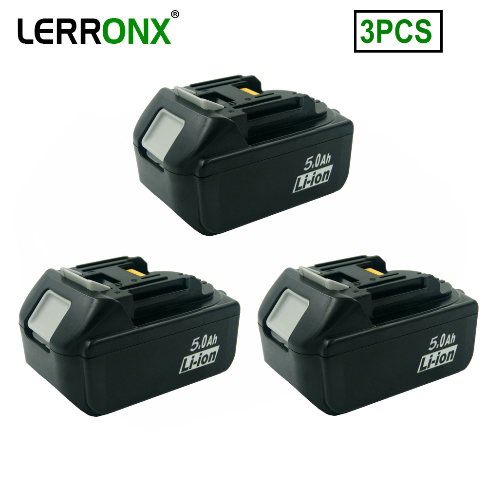 3PCS BL1850 18V 5.0A Lithium Power Tool Replacement Batteries for <font><b>Makita</b></font> Rechargeable Battery BL1830 BL1840 BL1860 <font><b>BL1820</b></font> BL1815 image