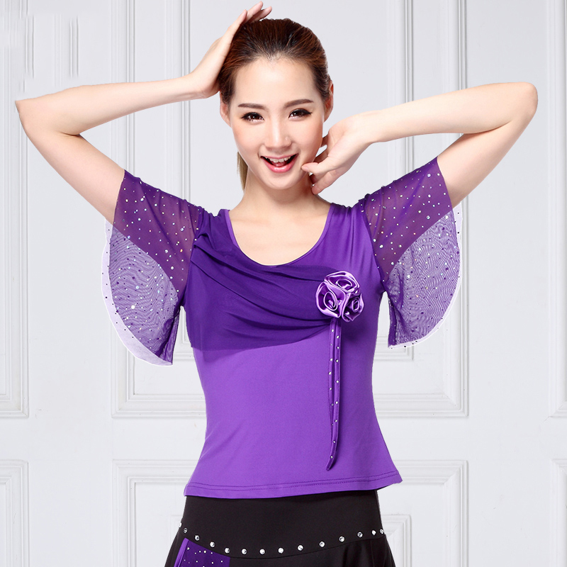 Ballroom Dance Top Ladies Short Sleeve Flamenco Dancing Shirts Waltz Spanish Clothing Adult Practice Performance Wear DNV11927