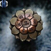 Mini Buddha Eye Lotus Fingertip Gyro Adult Decompression Toy EDC Pendant Gyro Pure Copper Brass Pendant