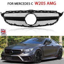 for W205 AMG Black Front Grille Mercedes C Class C205 S205 Without centre logo
