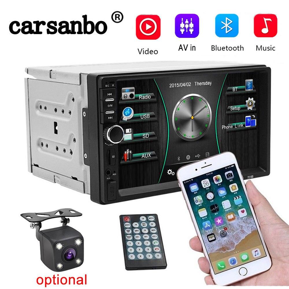 7018b 2 Din Car Radio 7inch  HD Player MP5 Touch Screen Digital Bluetooth USB TF FM Multimedia Player Autoradio Windows Ce