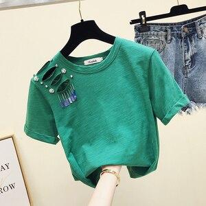 Футболка с коротким рукавом, хлопковые рубашки, женские новые свободные футболки в Корейском стиле 2XL, женские футболки с дырками, топы для с...