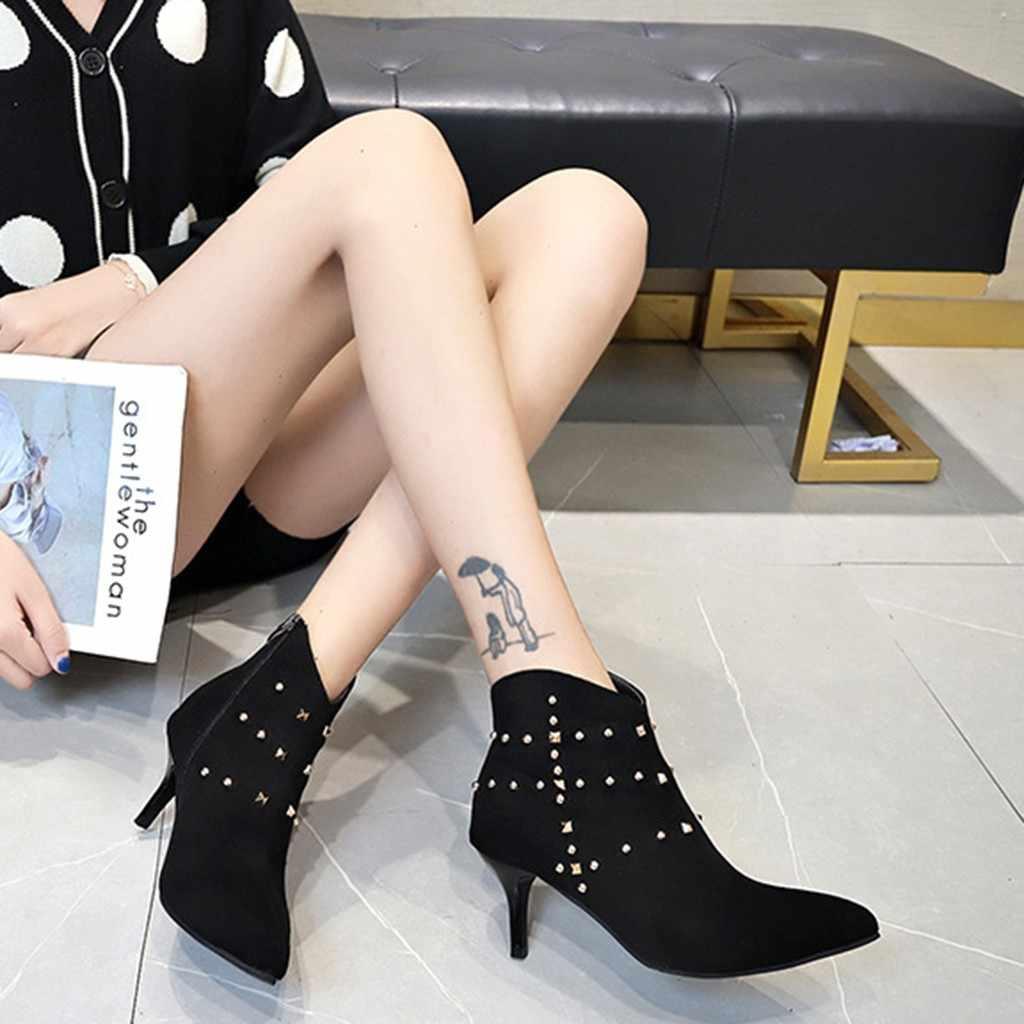 Femmes Slim bottes Sexy hiver Rivet cheville longueur Zipper bout pointu troupeau mince talons femme chaussettes bottes 2019 #823